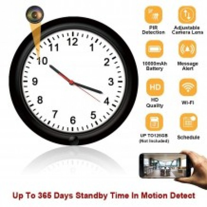 Wifi Stand Alone Wall Clock 180 degrees Black