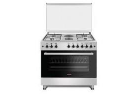 KENSTAR 60X90 Free Standing Oven, 4 Gas Burners Hobs (Pipe System) + 2 Hotplate Inox Steel Table Top