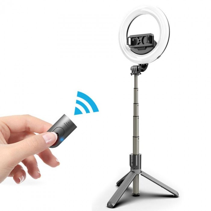 L07 Bluetooth Selfie Stick Tripod With 5-Inch LED Ring Light