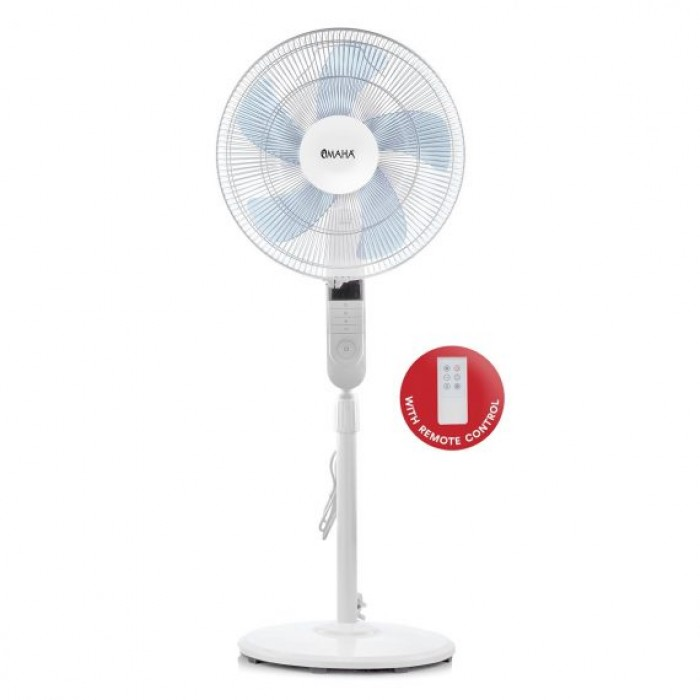 Omaha 16 Inch Standing Fan With Remote White Colour | FM040S