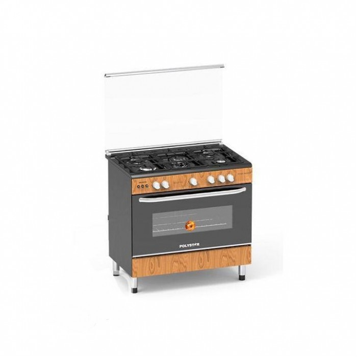 Polystar 5 Gas Burner Cooker With Auto Ignition Wooden Colour PVWD-960G5G