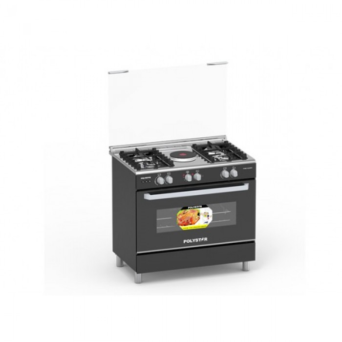 Polystar 4G+1E Burner Gas Cooker PVFS-80G1| Auto Ignition Black Glass Door| 4 Gas + 1 Electric Hotplate