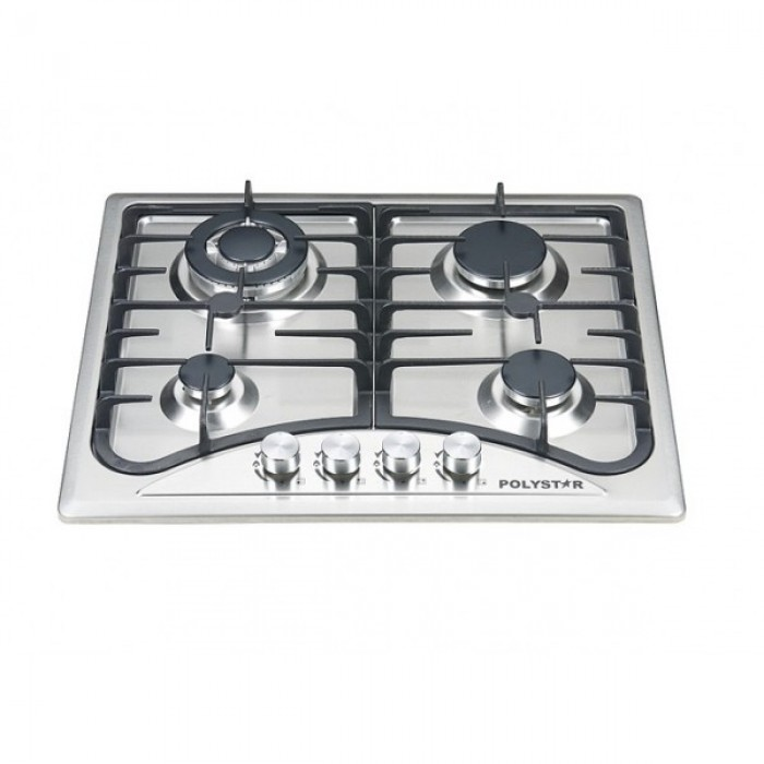 Polystar 4 Burner Gas Hob PV-HBS4543 |Stainless Steel Panel |Electric Ignition