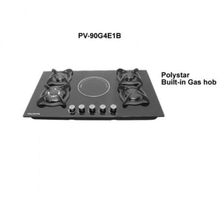 Polystar 4G+1E Burner Gas Hob PV-90G4E1B | 4 Gas + 1 Electric Hotplate