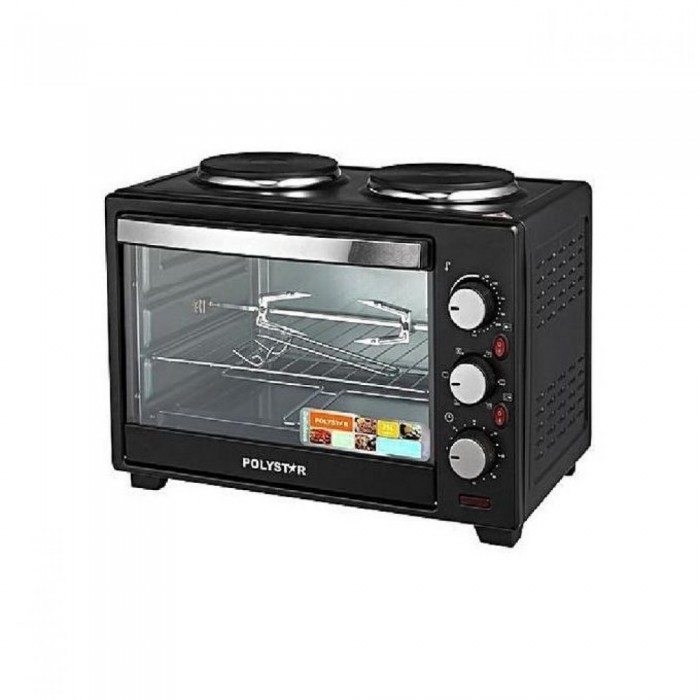 Polystar 25L Toaster Oven With 2 Hot Plates And Grill PV-V25B