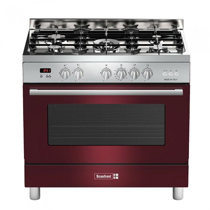 Scanfrost 4 Gas + 1 Wok Burner Gas Cooker SCFTPD95 90X60cm | Semi Professional B. Red FS-Cooker APSCCKFG38
