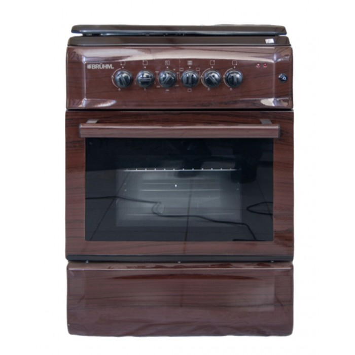 BRUHM Gas Cooker 90 By 60 5 Gas Wooden Finish| BGC-9650SN