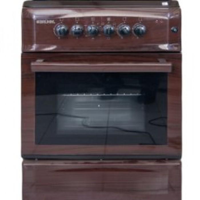 BRUHM 60x55 3 Gas + 1 Electric Burner Gas Cooker Wooden Finish | BGC-6631SN
