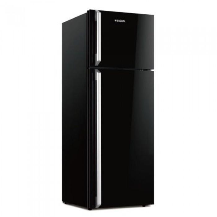 BRUHM 200L Double Door Refrigerator Black Glass Door BRD-235